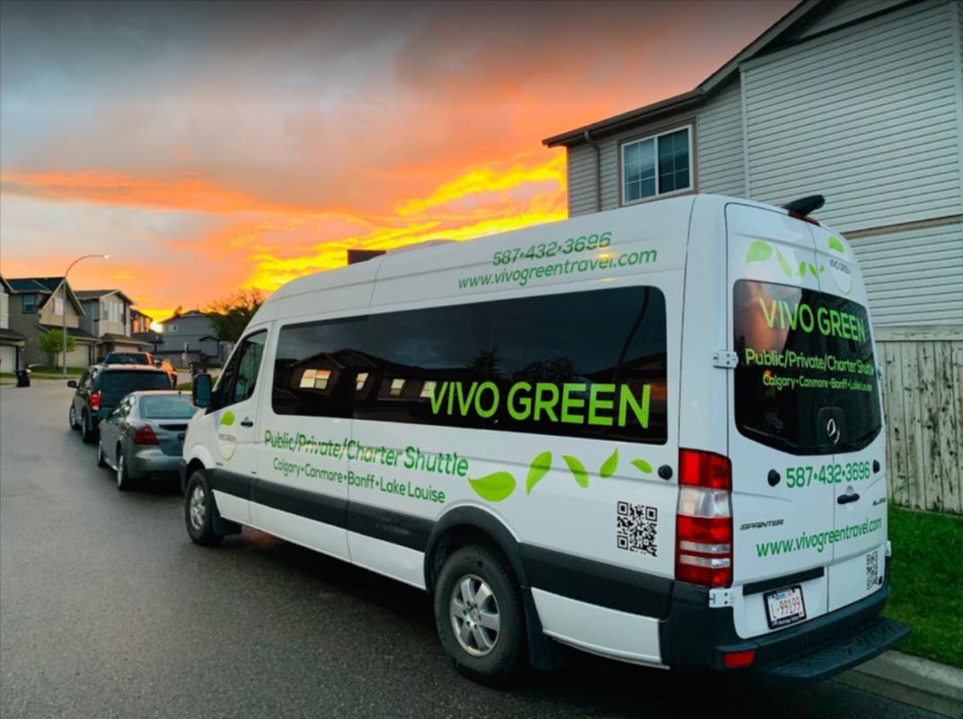 Vivo Green shuttle bus at business address